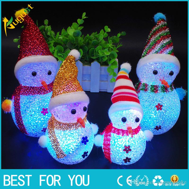 2018 Natale LED pupazzo di neve Santa Light Up Christmas Ornament Piccola luce albero Hanging Decoration