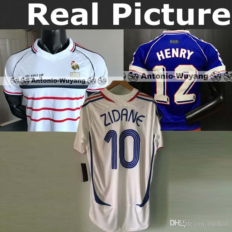2ddc408ba 2019 1998 Frances 2006 FRANCE HOME AWAY RETRO VINTAGE ZIDANE HENRY MAILLOT  DE FOOT ZIDANE Rugby Jerseys Uniforms Football RIBERY 22 Shirt From Euoka1,  ...