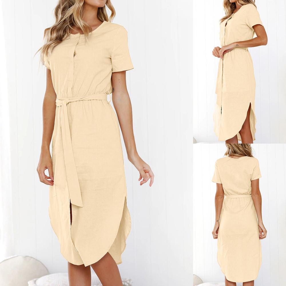 5d29554cb4c53 2019 Womens Summer Solid Short Sleeve Wrap Dress Elegant Ladies Girls Crew  Neck Tie Wasit Slim Maxi Dresses Vestidos De Festa Party Dresses Teens Shop  ...