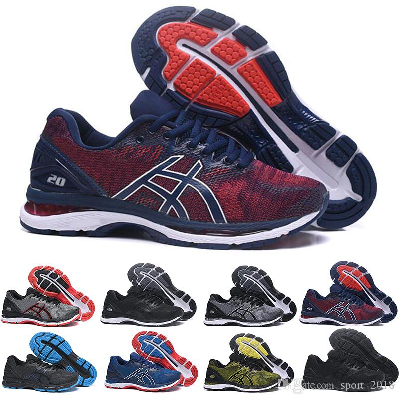e72b2f48b6a ASICS 2019 GEL Nimbus 20 Estabilidad Zapatillas De Correr Transpirables Para  Hombres Negro Blanco Azul Rojo Para Hombre Entrenador Zapatillas Deportivas  De ...