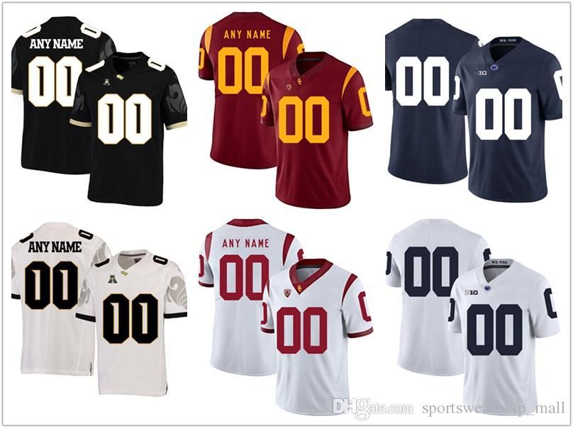 promo code 44c4d 7b04b Men USC Trojans Jersey UCF Knight scustom Stitched Personalized BLACK WHITE  Penn State Nittany Lions customized College Football Jerseys