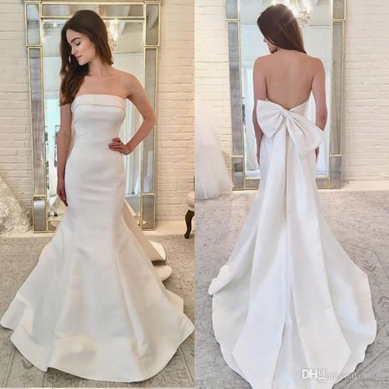 a28a1b8412 2019 Lovely Simple Mermaid Wedding Dress Strapless Neckline Satin Backless  Mermaid Bridal Gown with Bow Knot