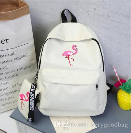 Backpacks Brand Women Simple Flamingo Printing Backpack For Teenage Girls Laptop School Bags Mochila 2019