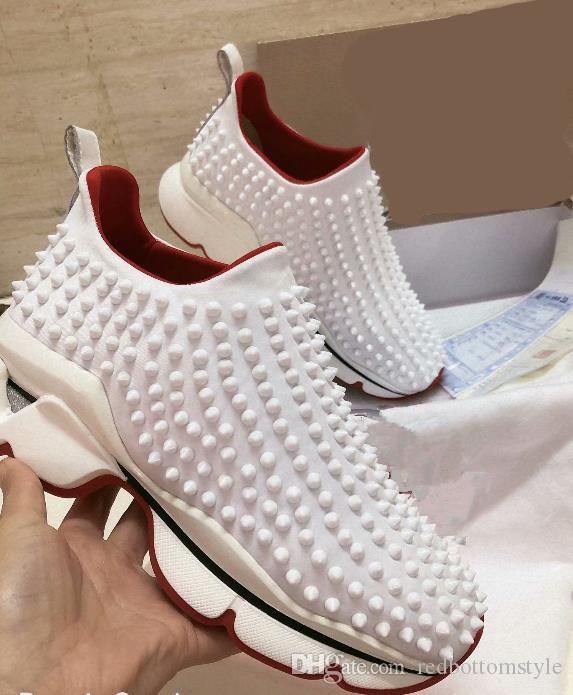 a basso costo 1b1ed 3e302 2019 Latest Bottom Sneakers Sock Donna Flats with Krystal Spikes, Red Sole  Sneakers for Men Women On the Go Size 4.5-12