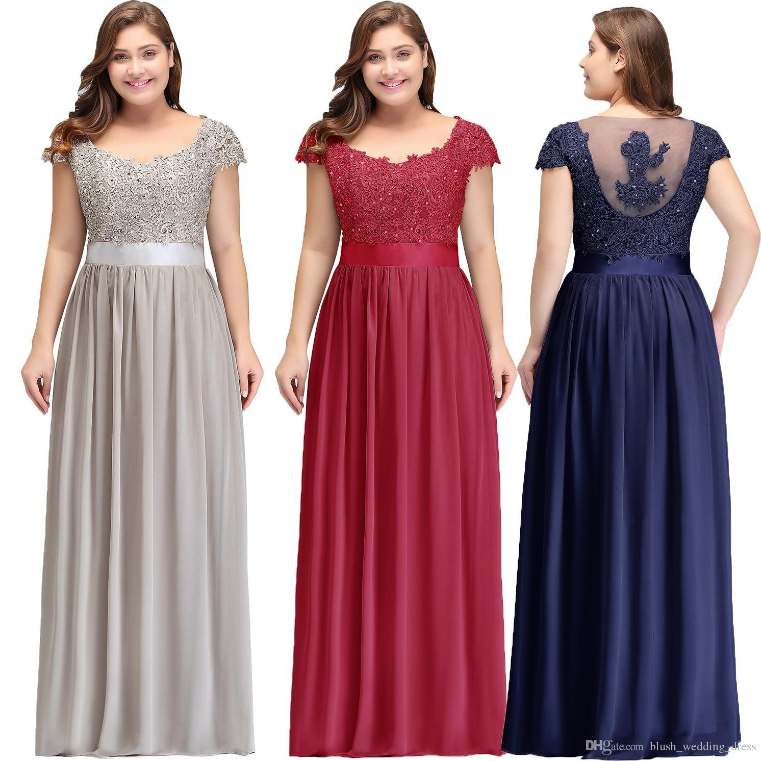 1d8629e5dd Custom Plus Size Cap Sleeves Chiffon Bridesmaid Dresses Floor Length Lace  Applique Formal Evening Party Dresses Maid Of Honor Gowns Pregnant  Bridesmaid ...