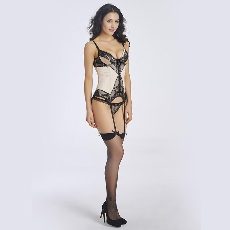 2016 Sexy Women Corsets Black Lace Apricot Cotton Material Back Hasp S-2XL Elegant Shaping Sexy Figure Waist Hot Corsets