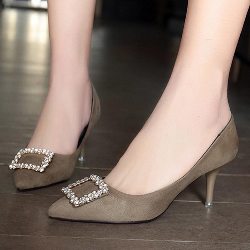 86f6fb27e Compre Sapatos De Vestido Tamanho Grande 34 42 Womens Salto Alto Bombas  Rasa Vestido Mulher Grosso Salto De Barco Preto Senhoras Zapatos Mujer 3322  De ...