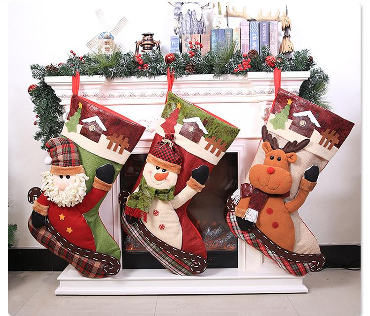 2019 New Large Christmas Stockings Fireplace Decorations Gift Bags Hang  Candy Socks Xmas Stockings For Kids Christmas Gift