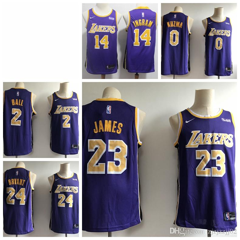 info for 32ef3 d2e2c 2019 23 LeBron James Laker Jersey The City Los Angeles Kobe 24 Lonzo 2 Ball  Kyle 0 Kuzma Brandon 14 Ingram ball Jersey NEW Purple gold