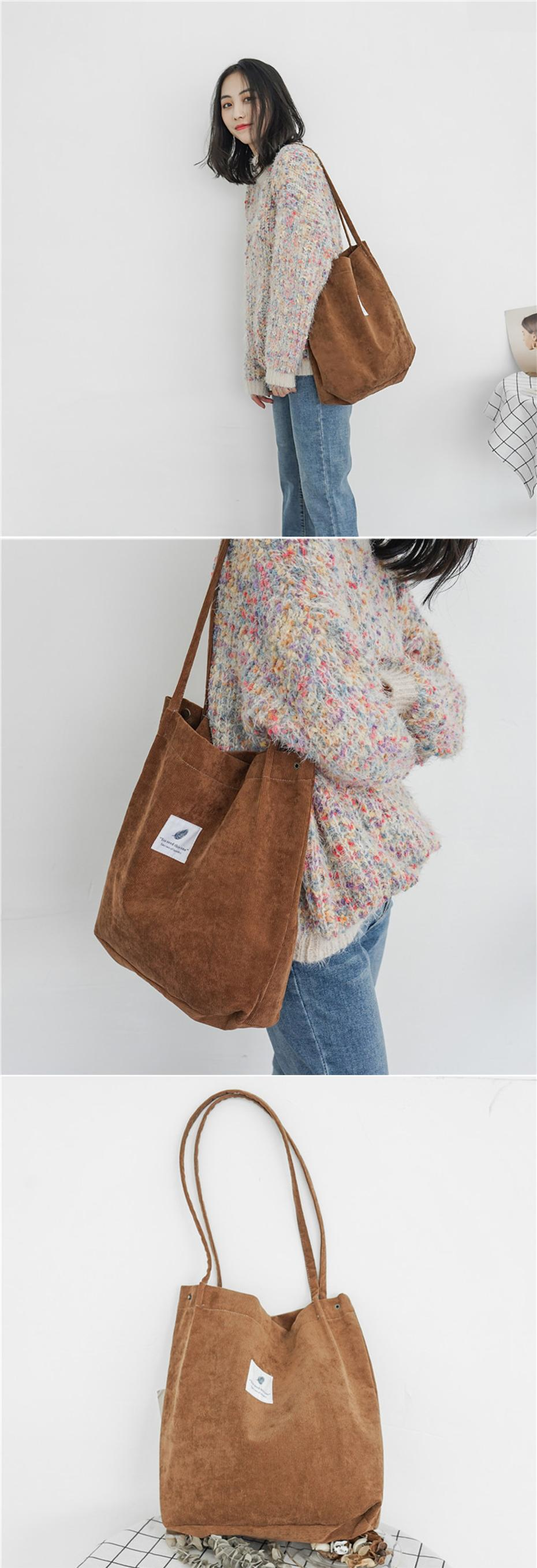 High Quality Women Corduroy Tote Ladies Casual Shoulder Bag Large Capacity Shopping Beach Bag Foldable Reusable