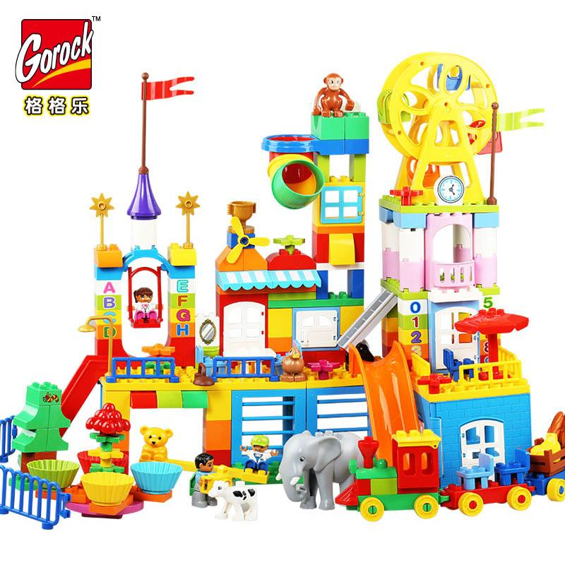 GOROCK Big Building Blocks Girl pink Castle Park valley Princess Block Kids Baby Toy Compatible Duplo LegoIN Christmas Gifts toy