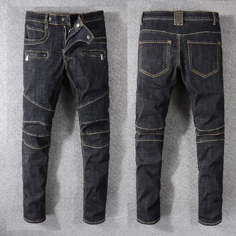 3c19cac7 New France Style #1073# Men's Moto Pants Ripped Blue Skinny Raw Denim Biker  Black Jeans Stretch Slim Trousers Size 29-42
