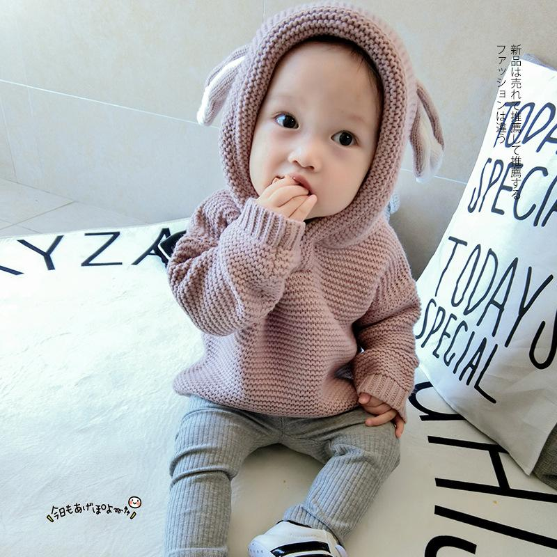 e5094397a Cute Rabbit Ear Baby Boys Sweaters With Velvet Baby Clothes Girl ...