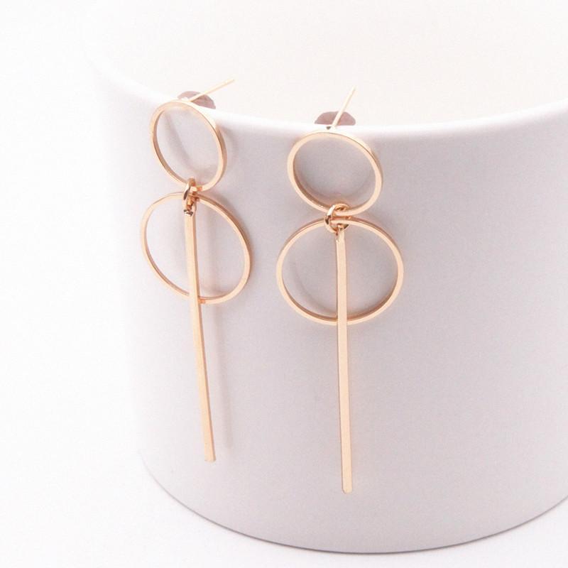 Новая мода Элегантный Геометрическая Круглый Круг Хооп серьги Двойной Hollow круг серьги моды для женщин Изысканный подарков E0204