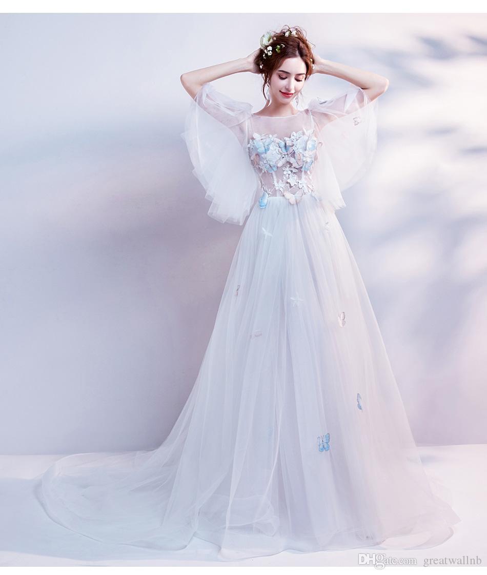 Longue Belle Renaissance Robe Marie Médiévale Voile Victorienne Broderie Princesse Blanche Ball Papillon Sissi shrxtQdC