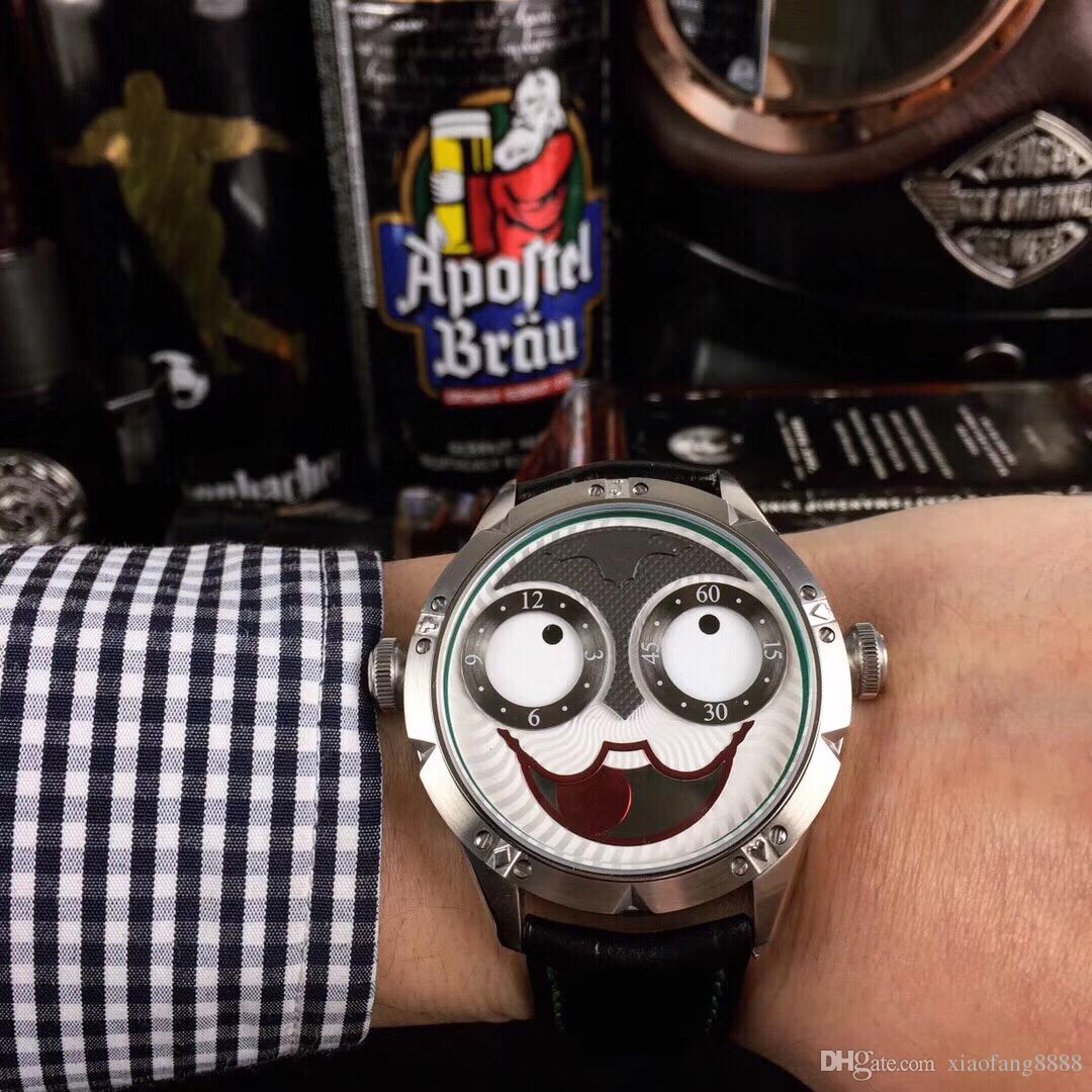 The latest popular Russian clown expression constantly changing humor unique design quartz movement leather watchband 42mm..