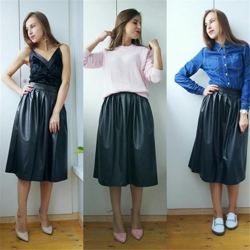 Designer Long Skirts High Quality Pu Leather Skirt Women Spring Autumn High Waist Long Pleated Skirt Lady Casual Solid Party Maxi Skirt