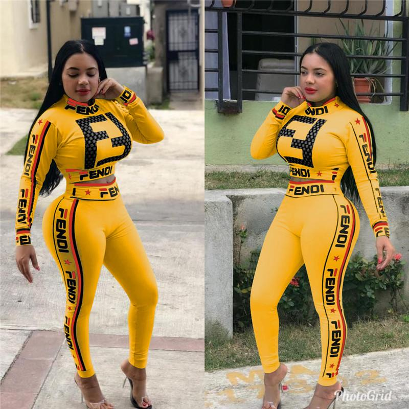Donna Summer Star Double F Lettera Printed Sweatsuit Fashion Tuta manica lunga crop Top T-shirt + Pants 2pcs Set Casual Sportswear A3192