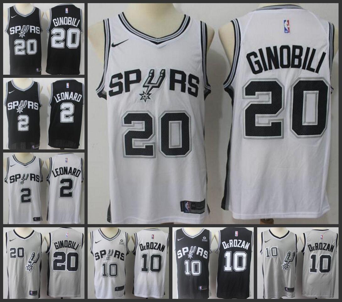 size 40 7c1d6 9e981 San Men Antonio Spurs Jersey Demar DeRozan Kawhi Leonard Manu Ginobili  Stitched Jerseys