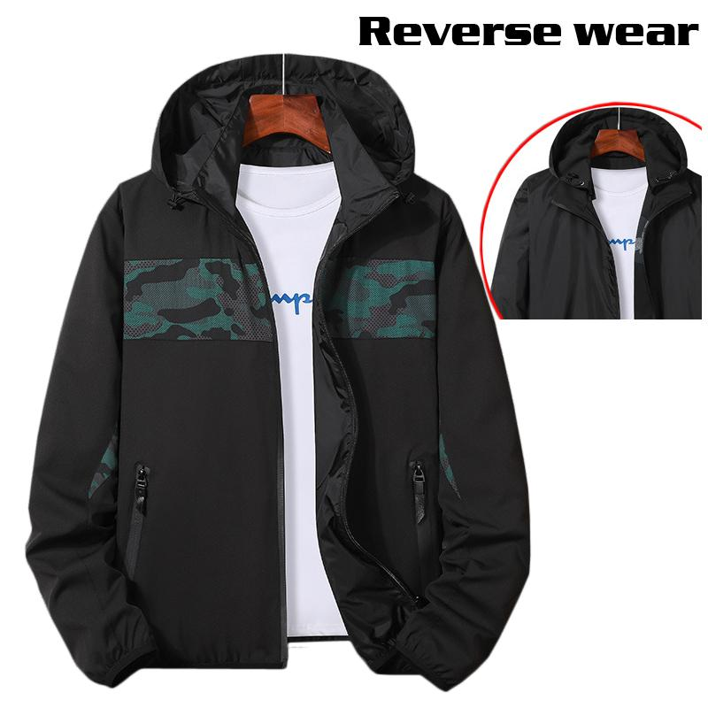 Men's 2019 autumn hooded sports jacket Korean camouflage stitching double-faced outdoor sports windbreaker jacket