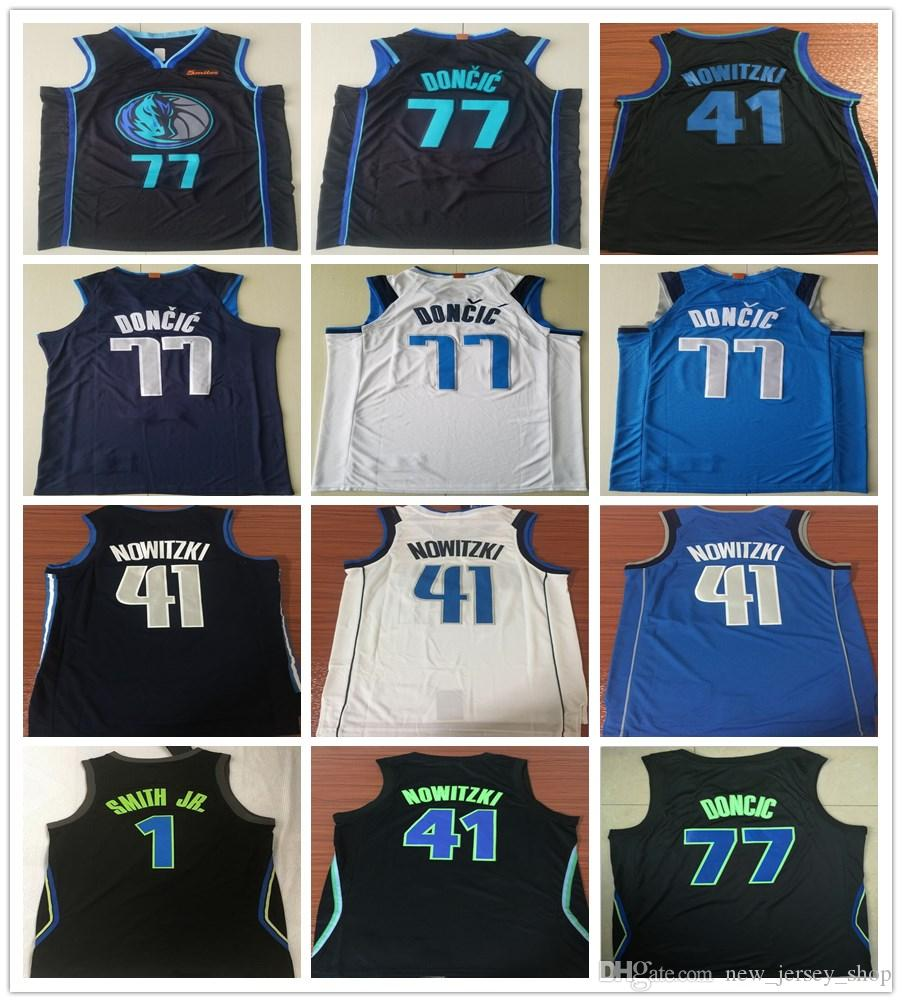 detailed look 9a27f 91b8c 2019 New City Edition Navy Blue 77 Luka Doncic Jersey White Black Stitched  1 Dennis Smith Jr. 41 Dirk Nowitzki Jerseys Shirts