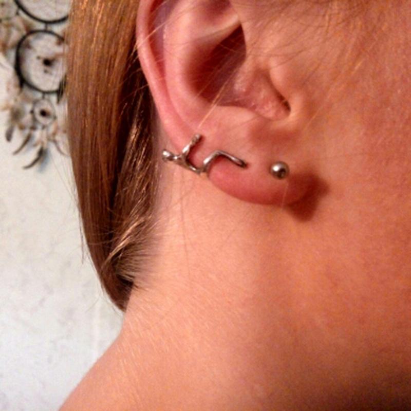 Silver/Gold Earrings Ear Clip Climbing Man Climber Ear Cuff Helix Clip Earrings Without Piercing Cartilage Earrings Bijoux Femme
