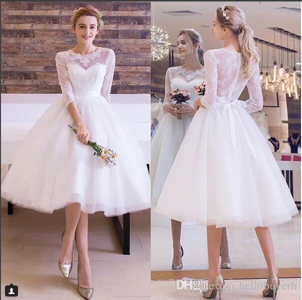 Elegant Blanc Dentelle Tulle Courte Longueur De Thé Robes De Mariée Manches Courtes 2019 Robes De Mariée Vintage Nigeria