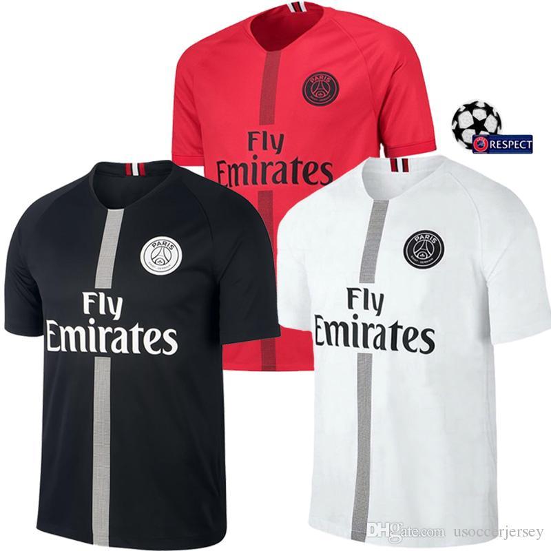 Negro Blanco Maillot Air Jordan Psg 3rd Tailandia Jerseys De Fútbol 2018  2019 Maillot De Pie MBAPPE CAVANI BUFFON Jersey 18 19 Fútbol Kits Fútbol  Camisa Por ... 4e65b3443aba7