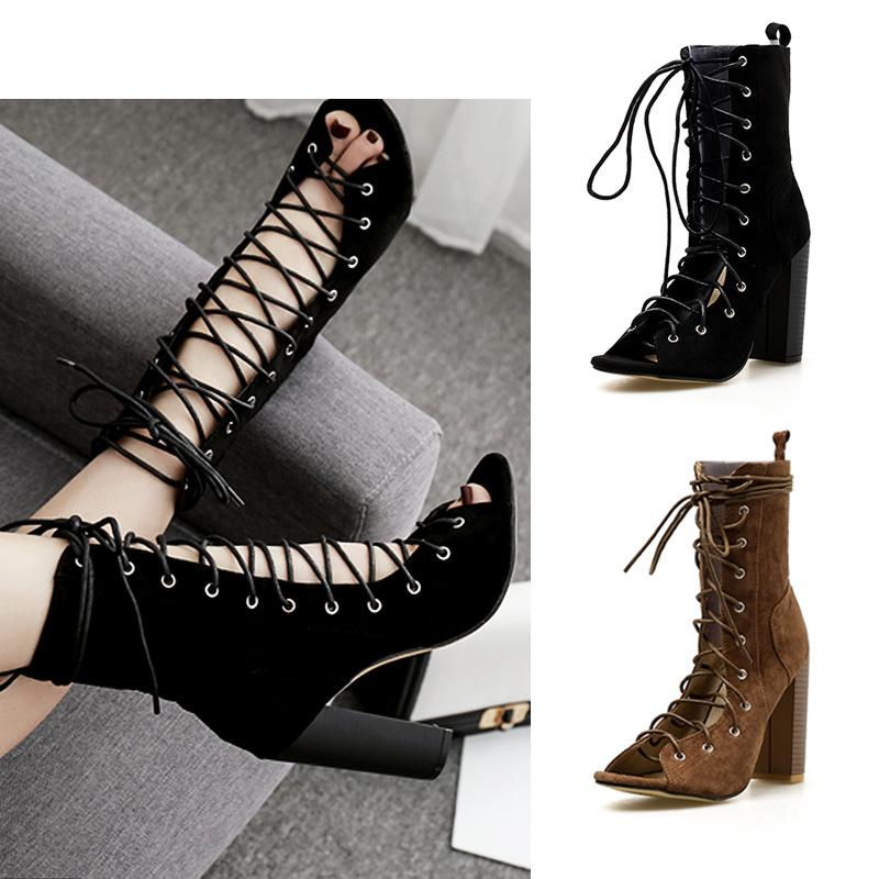 2fb125eb42ee4 Women Summer Boots Sexy Black Lace Up Chunky High Heeled Gladiator Sandals  Fashion Peep Toe Pumps Size 35 40 Sandals For Men Jelly Sandals From ...
