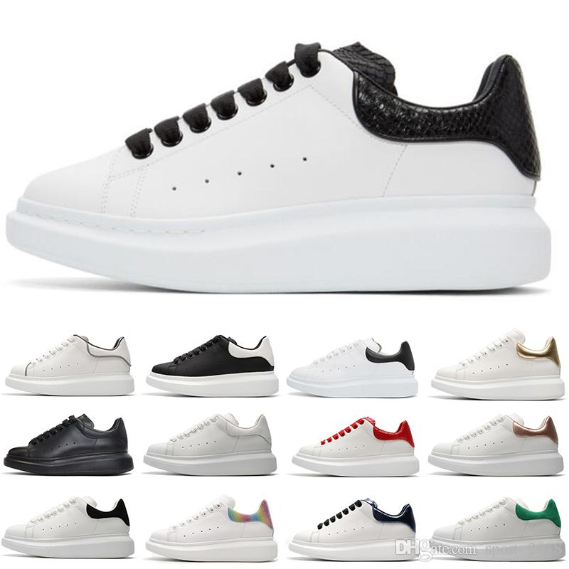 Fashion designer shoes fashion luxury leather sneakers for men women white black Platform shoes Thick-soled height increasing size 36-44
