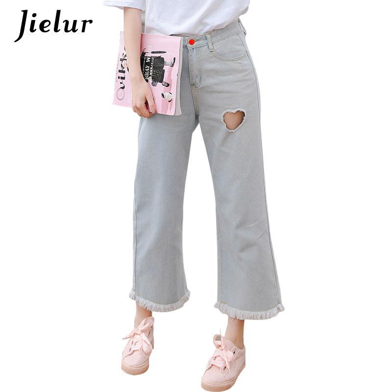 la mejor actitud 7f6c4 04ec7 Jielur japonés Kawaii Hollow Love Jeans para mujeres S-l Sweet Basic Jeans  anchos de pierna ancha Corea moda borla Pantalon Jean Femme T4190603