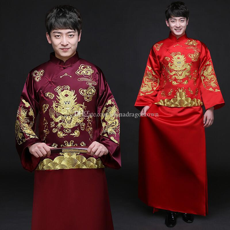 48675f6821f2 2019 Male Cheongsam Ethnic Clothing Chinese Ancient Costume Men S  Traditional Wedding Dress Red Party Vestido Vintage Groom Gown From  Chinadragontown