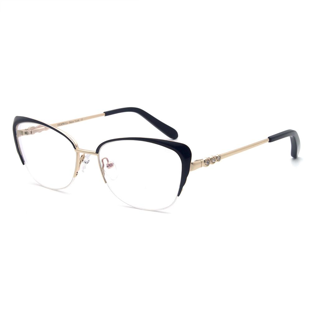 504178e72ca 2019 New Fashion Optical Frame Shinny Diamind Metal Half Frame Cat Eye  Glasses For Women Flexible Spring Hinge Temples From Lixinglass