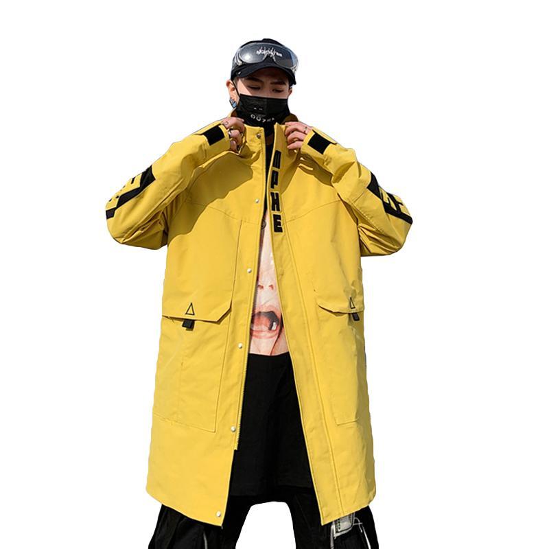 info pour 0c5bf 9412f Mens long manteau à capuchon occasionnel printemps coupe-vent manteau  hommes pardessus coréen hip hop streetwear mâle survêtement de mode jaune