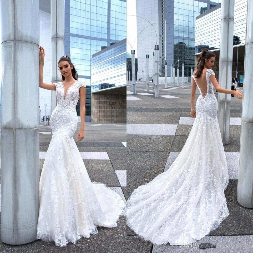 98817d56d7a1 2019 New Design Mermaid Wedding Dresses Long Sexy Deep V Neck Lace Beads  Crystals Bridal Gowns Sweep Train Wedding Dress BC1950 Lace Wedding Gowns  Long ...