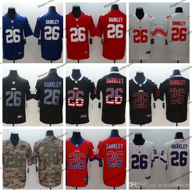 official photos 6f228 2e933 2019 Camo Salute to Service New York 26 Giants Saquon Barkley Football  Jerseys Saquon Barkley Blue Vapor Untouchable Shirt