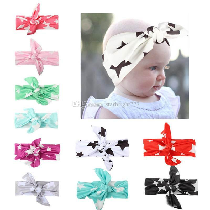 Girl Rabbit bow Headband Baby Star print hairband Spring Summer Elastic Hair Accessories 10Colors for choose