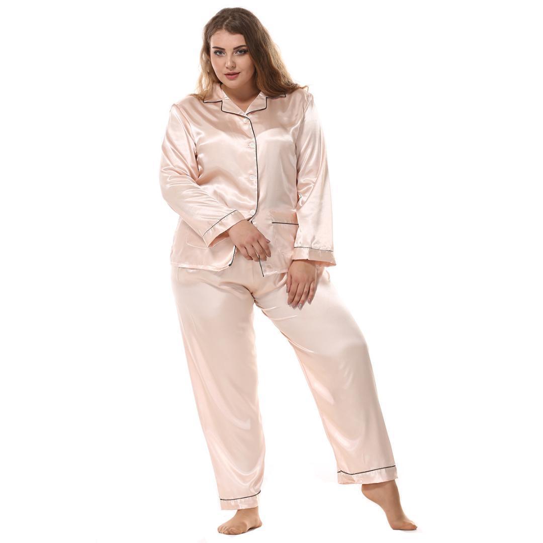 53fe6618d3 Acquista 2019 Primavera Nuove Donne Lungo Pigiama Pigiama Pigiama Vestito  Moda Raso Casa Abbigliamento Sexy Pigiameria 2 Pezzi Camicia + Pant Set  Sonno A ...