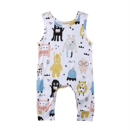 1feff2110478 2019 2019 Newborn Baby Boys Girl Romper Jumpsuit Outfits Clothes Cute  Monsters Pattern Summer Baby Rompers 0 12Months From Superbest17