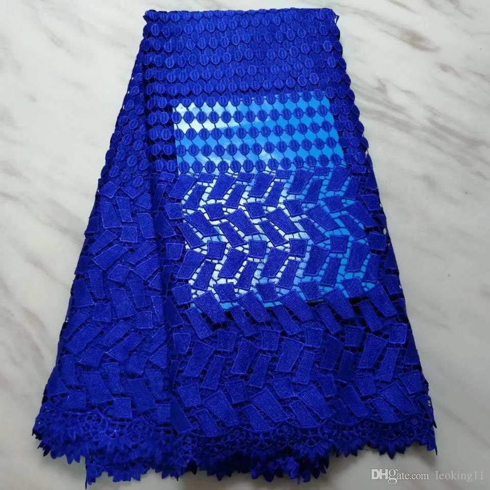 5Yards/pc Popular royal blue african water soluble lace embroidery french guipure lace fabric for dress BW30-7