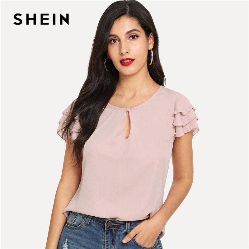 679ff3f25d6a SHEIN Pink Pearls Beaded Layered Sleeve Summer Casual Tops 2019 New ...