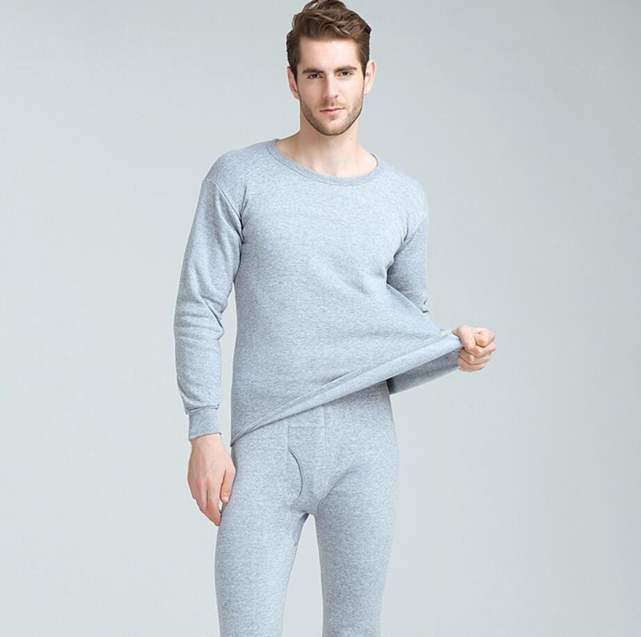 4fe878329 Invierno largo johns hombres gruesos conjuntos de ropa interior térmica  mantener caliente otoño invierno camisa pantalones 2 piezas conjunto cálido  ...