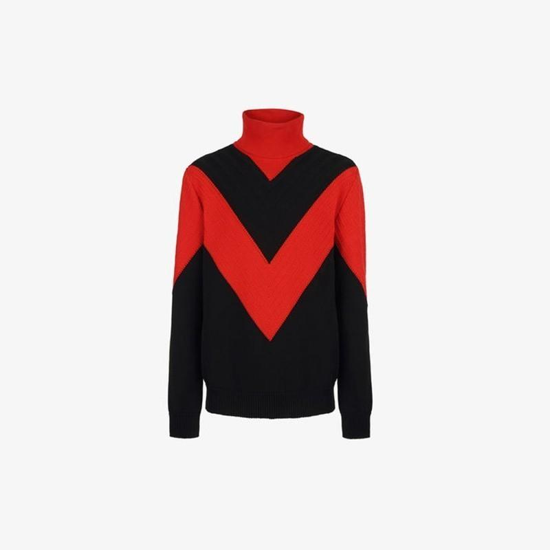 18FW Turtle Neck Embroidery Sweater Patchwork Red Black Men Women ... a3dc9f7385d3