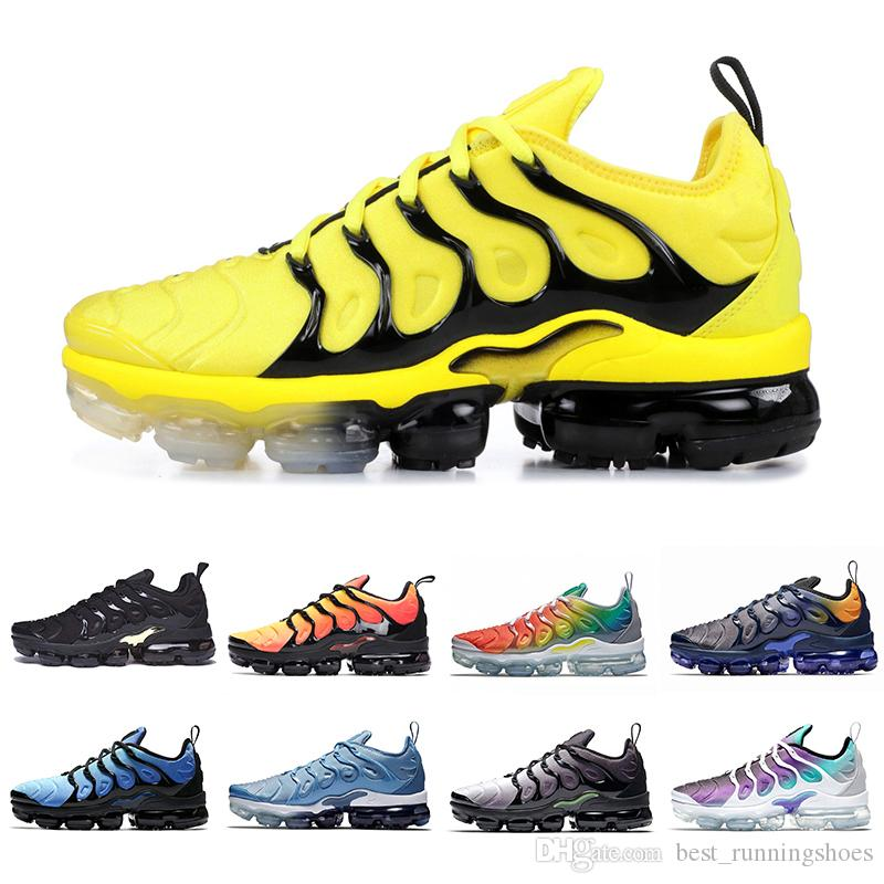 53fca4f9e890aa 2019 2019 Sunset Fades Work Blue TN Plus Men Running Shoes GRAPE Bright  Crimson Hyper Rainbow Mens Volt Wolf Grey Tns Sports Sneakers Chaussures  From ...