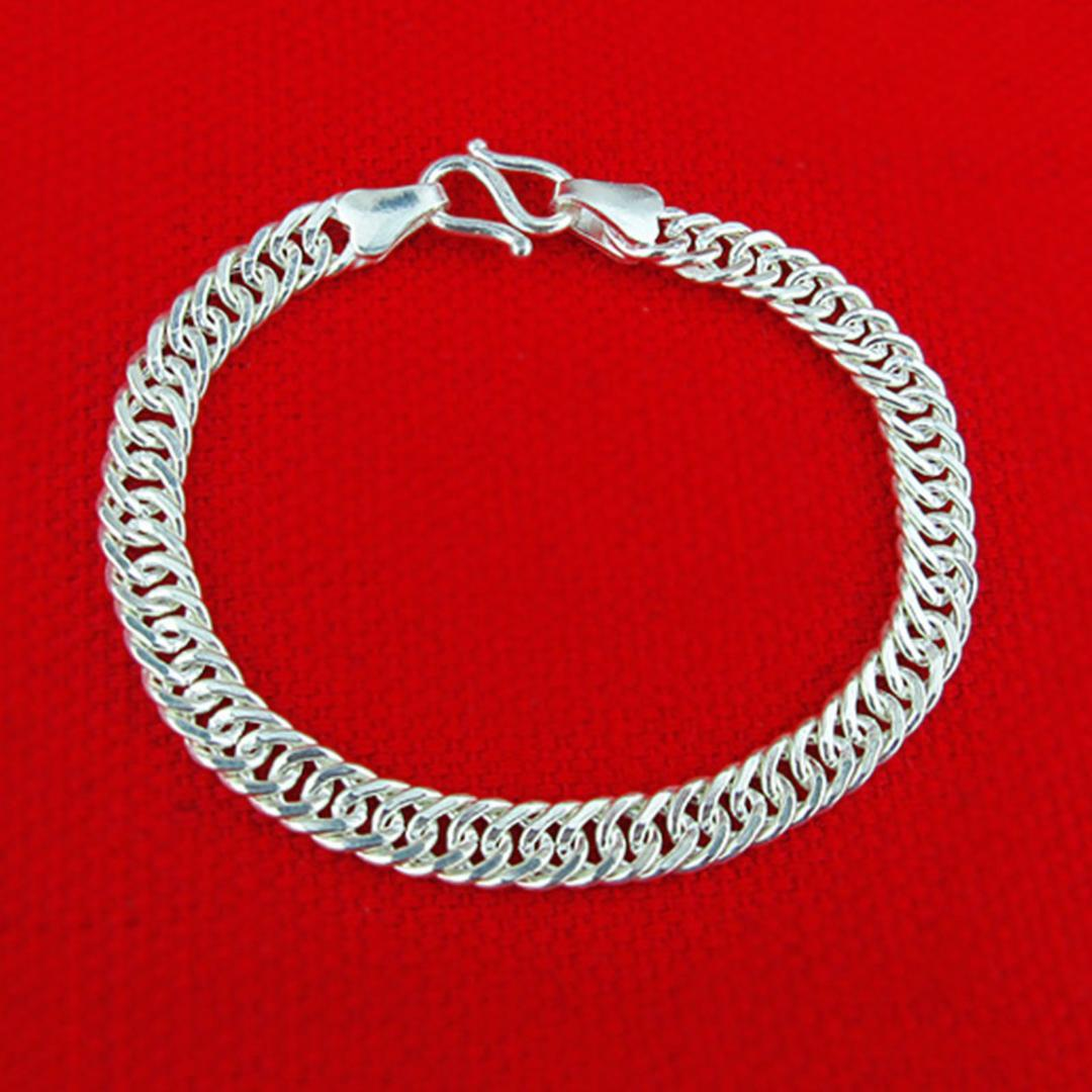 0aae56ffc855e4 2019 Hot Sale Pure S990 Sterling Silver Chain Men Women Baby Curb Link  Bracelet From Shuidianba, $58.5 | DHgate.Com