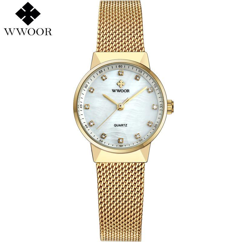 686b5a98af3 Compre Nova WWOOR Mulheres Relógios De Luxo Da Marca À Prova D  Água Relógio  Senhoras De Quartzo Relógio De Pulso Das Mulheres De Ouro Pulseira Vestido  ...