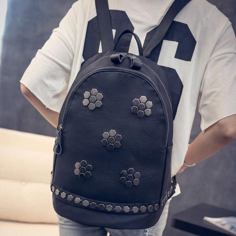 c567620d2560 2019 New New Creative Women Pu Leather Backpack School Girls Student Travel  Backpacks Black Mater Rivet Sathel Bag Fab Bags Rucksack From Hopemoney03