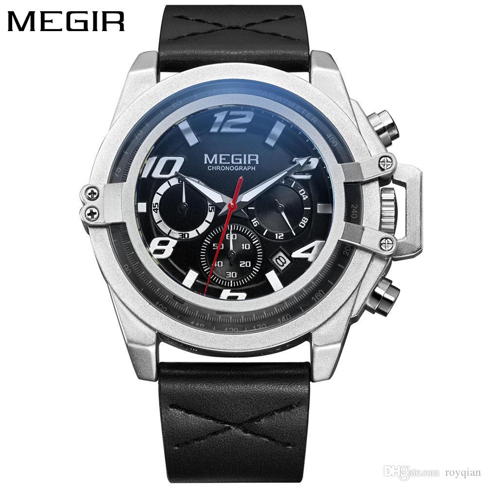 Compre MEGIR Creativo Moda Hombre Relojes Deportivos Hombres Cronógrafo  Reloj De Cuarzo Hombre Cuero Militar Reloj Impermeable Relogio Masculino A   35.53 ... 94659f0097f2