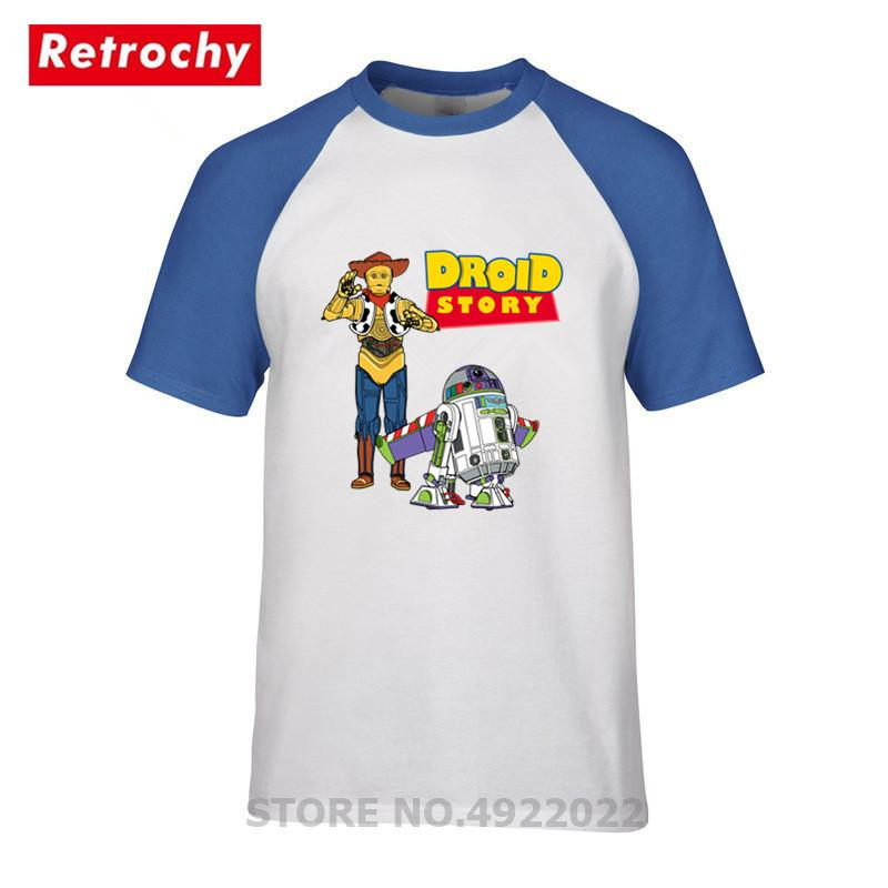 Newest Fashion Droid Story T Shirt Men Novelty Design Robot T-shirt Retro Style Tshirt Best Gifts For Boys Hipster Tee