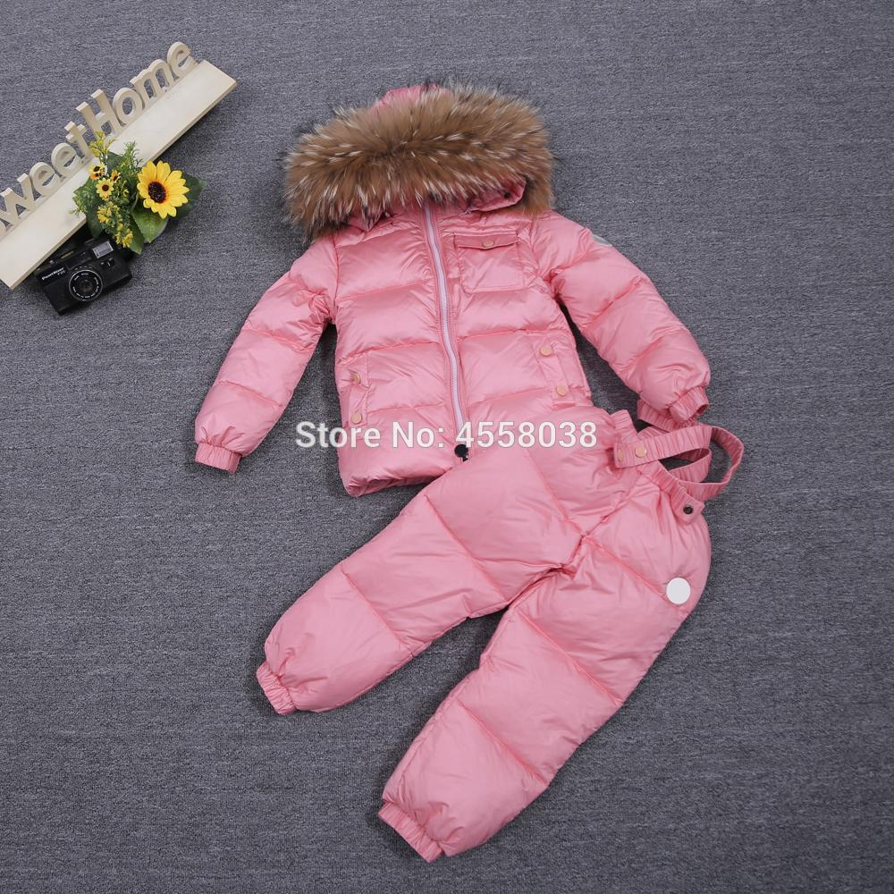 Winter Children Warm Baby Coveralls Down Coat With Big Raccoon Fur Trim winter coat boys